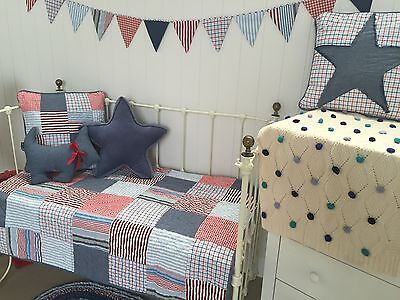3 pce Thomas Boys Nursery Cot Crib Quilt & 2 decorator Cushions Linens N Things