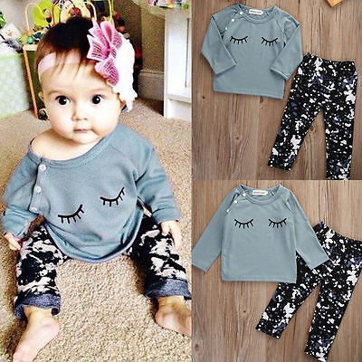 Newborn Toddler Infant Baby Girls Top Long Sleeve Shirt+Pants Outfit Set Clothes