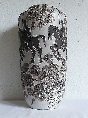 Scheurich Keramik Floor Vase Bodenvase Fat Lava Horses West German Pottery