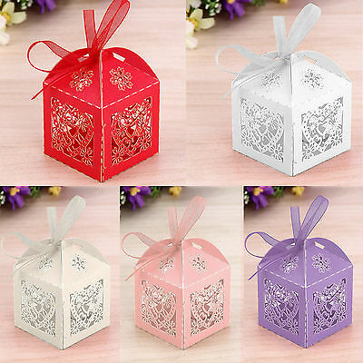 25/50/100 Wedding Favour Hollow Love Heart & bride Candy Gift Boxes With Ribbon