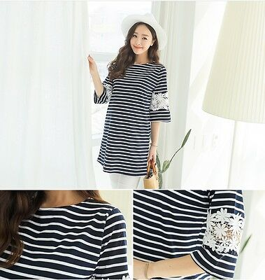 [SOIM] New Maternity Shirts Pregnant Woman Clothes Casual Wear Stripe Tops Tee