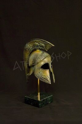 Ancient Greek Bronze Helmet(With Dolphin) On Marble Base