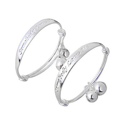 New Gift 2pcs Silver Plated Baby Kid Bell Bangle Bracelet English Letter Grand