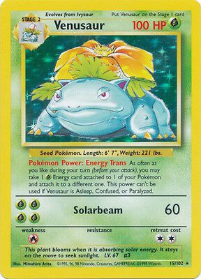 Venusaur - 15/102 - Holo Rare Base Set Pokemon Trading Card GOOD