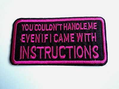 1x Handle Instructions Biker Patches Embroider Cloth Applique Badge Iron Sew On