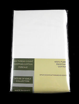 """Egyptian Cotton Percale Fitted Sheet 12"""" Deep Fully Elasticated 400Tc White"""