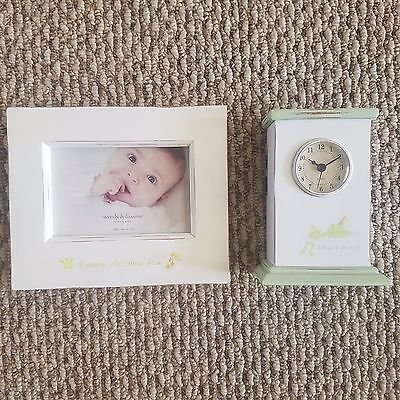 LOT 2 WENDY BELLISSIMO SIRLEAPSALOT FROG Dreams BABY NURSERY PICTURE FRAME CLOCK