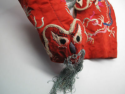 Antique Chinese Hand Embroidered Silk Shoes / Boots