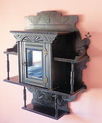 Large Wall Mount Mahogany Hand Carved Victorian Curio Cabinet