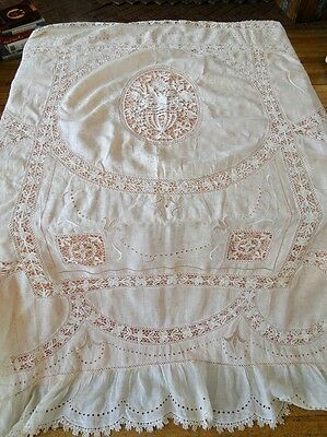 Circa 1900, Lovely Chaise Cover,curtain With Needle Lace Urn , Flowers,whitework