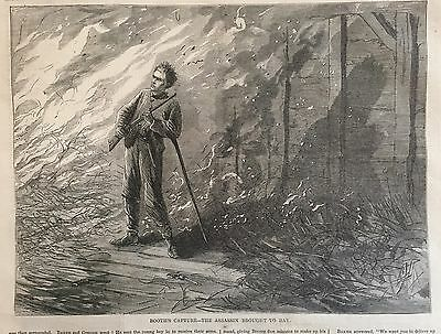1865 newspaper JOHN WILKES BOOTH Hunted Shot Killed ABRAHAM LINCOLN FUNERAL