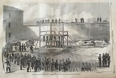 1865 Civil War newspaper ABRAHAM LINCOLN CONSPIRATORS HANGED Mary Surratt POSTER