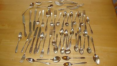vintage Lot 49 Silver Plate Flatware Serving Pcs Silverware Crafts Jewelry