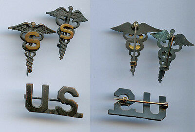 WWI WW1 AEF Sanitary Sanitation Officer Medical Insignia Lot of 3 Pieces RARE