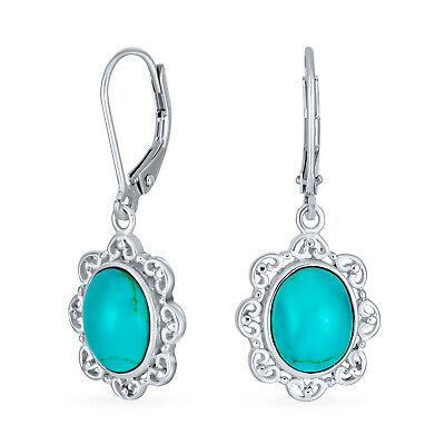 Bling Jewelry Oval Turquoise Leverback Earrings Antique Style Filigree