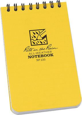 Rite in the Rain Knife New Top Spiral Yellow Notebook 3x5 135