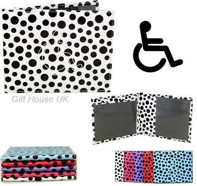 Polka Dot Pu Leather Disabled Badge Protector Holder Wallet Parking Cover B3
