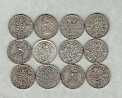 1924 To 1965 Six Pence Coins In Good Fine To Near Mint Condition
