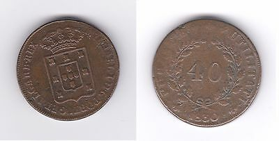 Portugal 1830 40 Reis Miguel I Co Vf