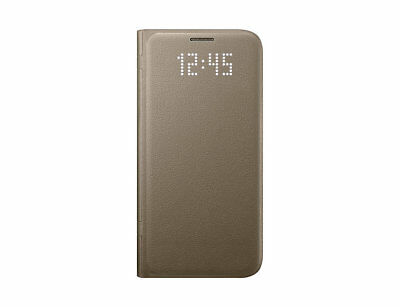 Genuine Official Samsung Galaxy S7 LED View Wallet Flip Cover Case Gold EF-NG930