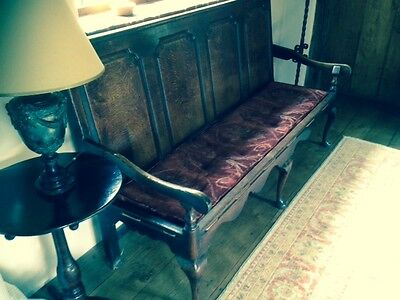Triple fielded panel back oak settle with cabriolet legs circa 1730 +Table