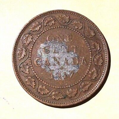 Canada 1917 One Cent Large Cent - Low Ball - Pocket Piece - Lucky Coin