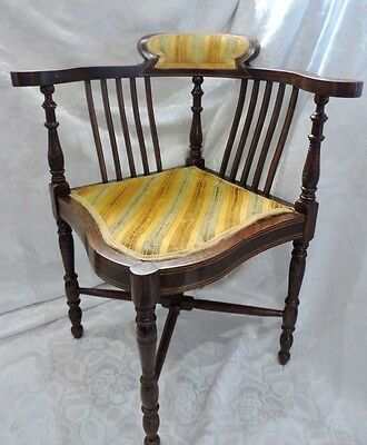 Edwardian Mahogany and Inlay Corner Chair