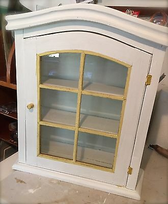 Vintage French Country Wood Wall Medicine Cabinet Display Curio /Glass Panes