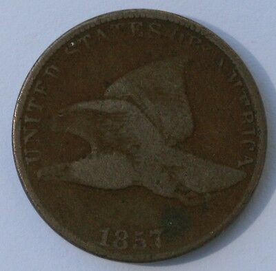 1857 1C Flying Eagle Cent Good Condition US Coin