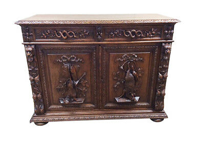 Magnificently Carved Antique French Hunt Sideboard/Server Great Carvings 1860-90