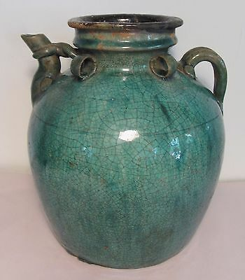 Antique 19th Century Chinese Earthenware Pottery Wine Water Jug Vessel