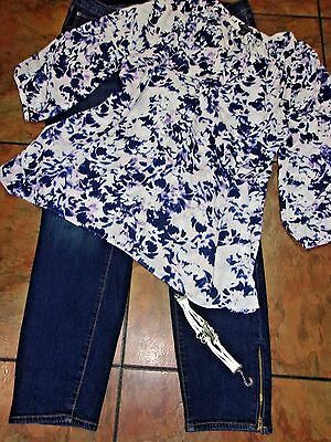 Women's Plus Clothing Lot Old Navy Rock Star Jeans  Knit Tunic Top Bracelet sz18