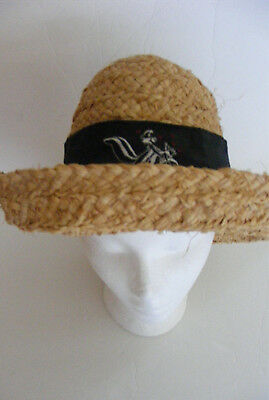 Pepe Le Pew Vintage WarnerBros.Store Straw SunHat black ribbon Bow embroideryNEW