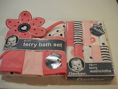 Gerber Girls 4 Piece Bath Set and 10 Pack Washcloths New Hooded Towel Baby Gift