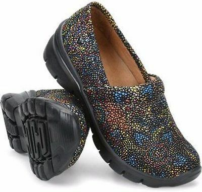 New Women's Nurse Mates Libby Starry Night Black Leather Work Shoes 10 Wide