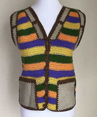 Vintage Hippie BOHO Vest Colorful Knit Leather Patchwork Womens sz S/M Festival