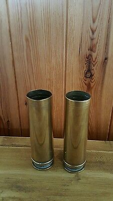 """Two Solid Brass Cartridge Cases Measuring 4.1/2"""" Tall"""
