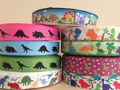 "Dinosaur Grosgrain Ribbon 7/8"" 22mm - 1"" 25mm - 1.5"" 38mm sold by the meter"