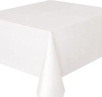 Plain White Pvc Oil Vinyl Fabric Table Cloth Cover Protector Easy Wipe Clean