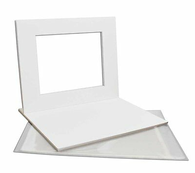 Set of 5 16x20 WHITE mats with White Core Bevel Cut for 11x14 + Backing + Bags