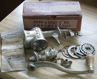 Vintage Universal Climax #1551 Food Meat Grinder with 4 blades Instructions box