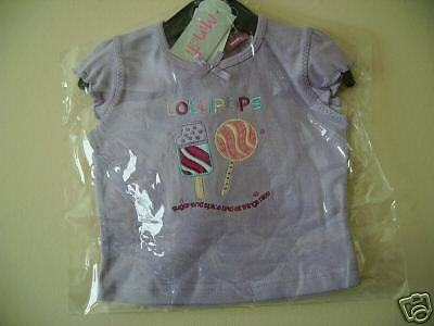 baby girls top lilac cotton t shirt with logo 6 to 12 months new