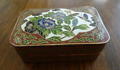 Japanese Cloisonne Rectangular Covered Trinket Box Butterflies Flowers