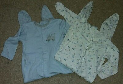 MOTHERCARE Baby Boys 'Train' Sleepsuits/Babygrows, age 18-24m