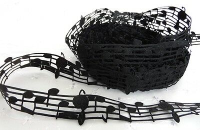 1m MUSIC NOTES BLACK LACE GROSGRAIN RIBBON 28mm