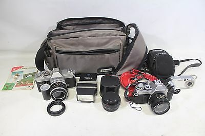 CAMERA LOT OF OLD 35MM FILM  AND DIGITAL CAMERAS AND ACCESSORIES AE-1, cannon TL