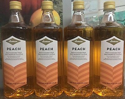 Lot Of 4 Starbucks Fontana Peach 1 Liter Syrup Bottles 5/2017 Free Shipping!
