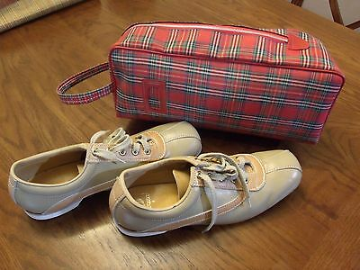 Vintage Mens 9 1/2 Leather Bowling Shoes By Sunbeam + Case