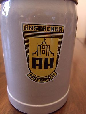 Beer Stonewear Stein With Lid 0.5L Ansbacher Hofbrau