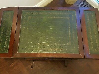 Small drop leaf antique leather top occasional table